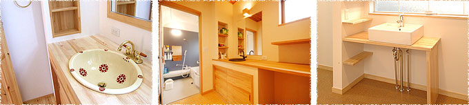 写真:洗面台(シンク&木製カウンター)の施工例