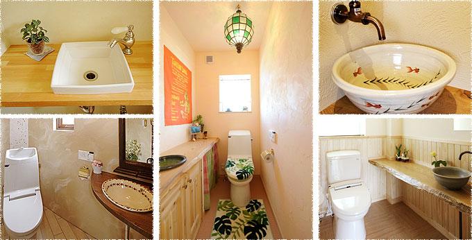 写真:トイレ手洗い(シンク&無垢カウンター)の施工例
